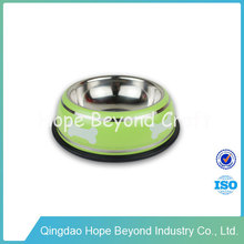 Colorful pet products custom stainless steel dog bowls portable modern dog bowls