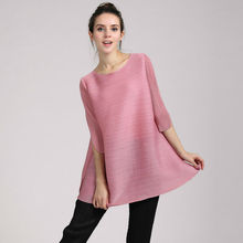 2015 popular new style tops wholesale crew neck blouse women's pleated tops