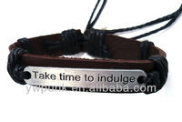 Free Sample texture take time to indulge leather bracelet cuff jewelry gift