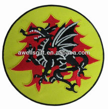 Dragon with wings round embroider Iron On Patch