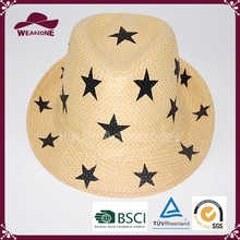 2015 fashion summer straw hat with five-pointed stars