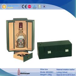 Cheap Green PU Leather Waterproof Cardboard Wine Storage Box