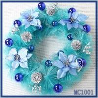 Merry christmas! cheap wholesale new arrival christmas decoration sky blue flower nice christmas tinsel garland