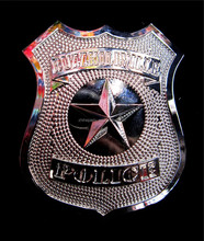 Metal party police badge pin costume accessory