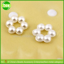 Cotton plastic flower shaped faux pearl beads for decorating