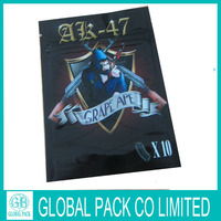 2014 hot sell AK-47 chemical herbal incense ziplock bags with tears