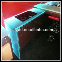 Diamond pattern fusion glass kitchen countertop with sink