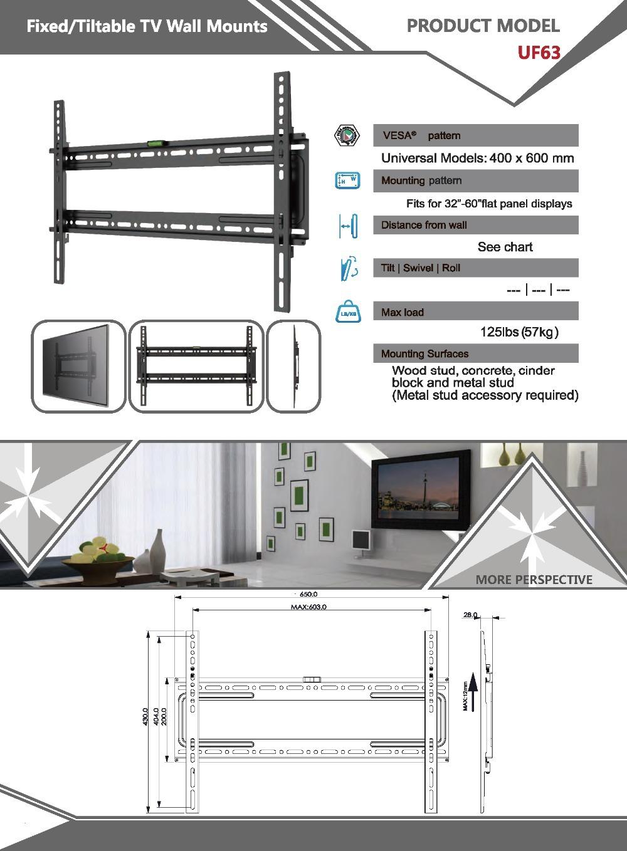 로딩 125파운드 이동식 대형 주도 평면 패널 모니터 고정-60 인치 ...