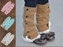 Solid Color Baby Knee High Leg Warmers With Lace And Buttons