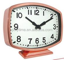 quartz decorative table clock rectangle Mental clock with CE&Rosh approval