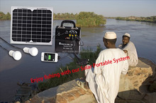 small power 10W portable solar power system for lighting camping use .