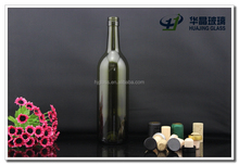 750ml 25oz antique green liquor glass red wine bottle with cork wholesale