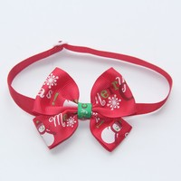 Red Bow with Print Christmas Series Dog Collar 1 CM Width Cat Bow Tie Fashion Design V1153