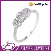China manufacturer noble design cubic zircon 925 sterling silver ladies rings