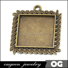 Zinc Alloy Antique Bronze finish Square shape hong kong jewelry wholesale