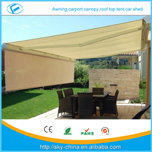 100% Anti-UV aluminum retractable car awning with free standing frame