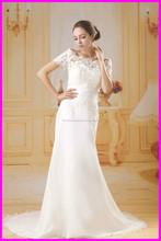 2015 guangzhou vestidos de novia de gasa precio barato con AG056 bolero de encaje desmontable