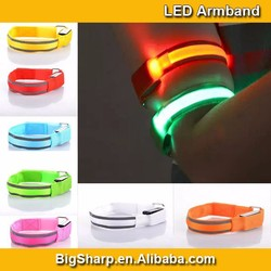 Double Reflective Strips LED Armband Bright Light Visible in Dark Safety Free for Running Outdoor Sports AB4014