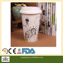 Goddess of Liberty Fashionable Custom Ceramic Coffee Mug With Silicone Lid