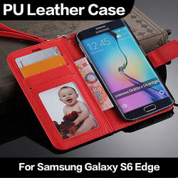 Genuine Leather Real Leather Flip Wallet Credit Card Holder Cover Case For Samsung Galaxy S6 Edge