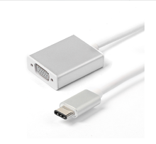 Silver Color 20CM USB Type-C to VGA Cable, VGA Female to USB 3.1 Type C Male