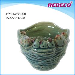 Glazed ceramic cup shape garden bird flowerpot