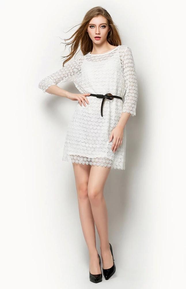 2015 nuevas mujeres ocasionales vestidos manga corta vestido de encaje con la correa