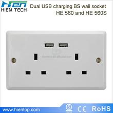 2 gang electrical outlet 2 USB wall socket UK