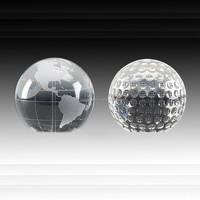 Hot sale Novelty Crystal Glass Globe Ball Paperweight/ Crystal Golf Ball Ppaperweight as souvenir gift or office desktop favor
