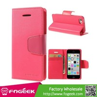 Top Quality Horizontal Stand Wallet Leather Case with Card Slots for iPhone 5c