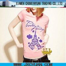 top fashion design Paris printing short sleeve round neck woman t shirt bulk wholesale 100% cotton clothing import from china