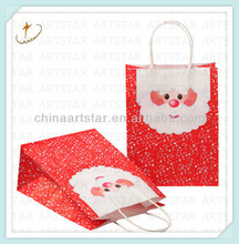 Father Christmas design shopping gift paper bag with round twist paper handle for promotion