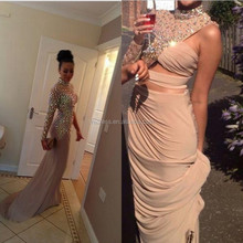 Hot Sale Charming Khaki Mermaid Women Formal Evening Dresses 2015 Sexy Halter One Shoulder Long Sleeve Crystal Long Party Gown
