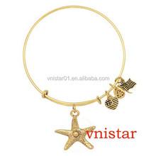 Wholesale Vnistar Alex and ani bangles, Starfish charm expandable wire bangle, VAB061,cheap wholesale bangles