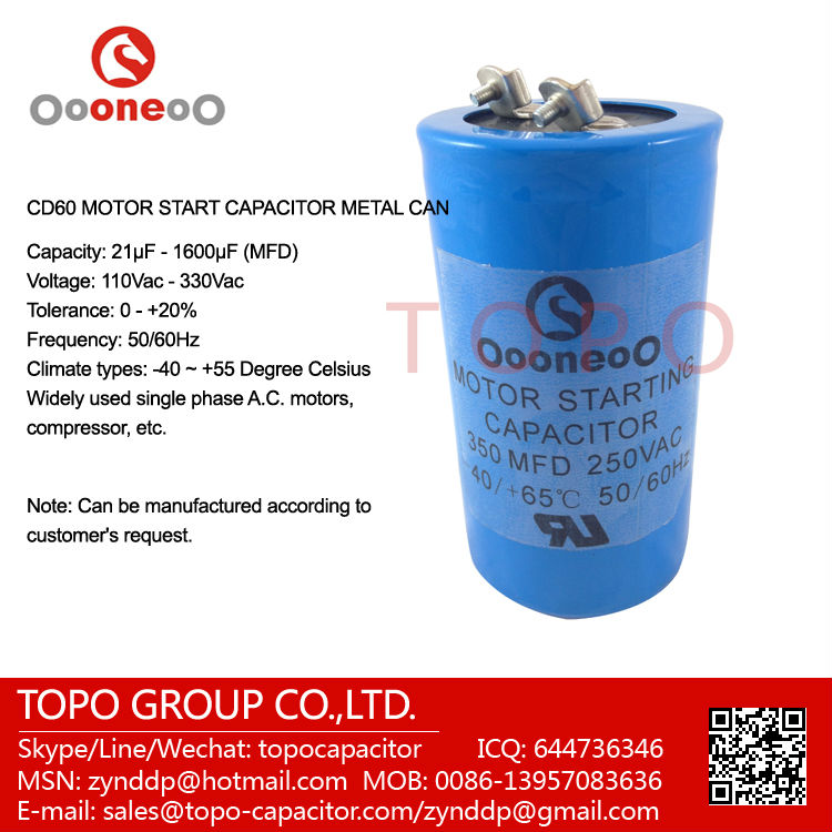 Electric motor starting capacitor with 350 mfd 250 vac for Electric motor start capacitor