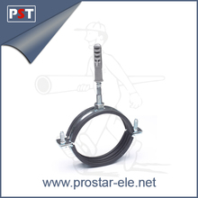 M8/M10 Rubber lined Pipe Clamp with hanger bolt and plastic anchor