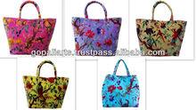 Cotton Velvet Shoulder Bags Indian Beach Bags Bird Floral Handbags