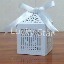 Blue birdcage Laser Cut pearl paper wedding candy box chocolate favour box baby shower gift box christmas new born gift
