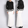 wholesale model baju kurung modern black and white islamic clothing fashion