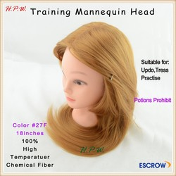 Top quality mannequin head with hair human head design for hairdresser training many color available in stock
