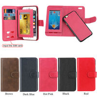 Flip Wallet Smartphone Leather Case for iPhone 6 plus, with SIM Card Slots for iphone 6 plus, Ultra-thin Skin for iPhone 6 Plus