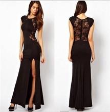 Wholesale Alibaba Maxi Dresses Black Cap Sleeve Lace Back High Slit Bodycon Dress