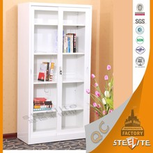 White Knocked Down Decorative Swing and Sliding Glass Door Photo Storage Cabinet