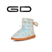 2015 Hot sell snow boots for girls suede shoes flock glitter shoes