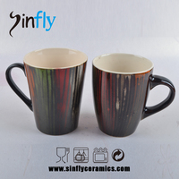 Reactive Glazed Stoneware Ceramic Mug with abstract color