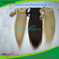 AAAAA grade human virgin hair little/kids girls ponytail hair extensions human hair drawstring ponytail