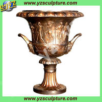 antique home decorative cast brass plants pot