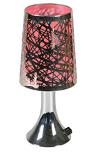 Metal Table Lamp, Hollow out Lampshade, chrome base