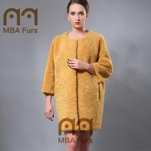 MBA Furs Fashion Sheep Fur Coat Full Pelt Manufacture Lamb Pelt Coat
