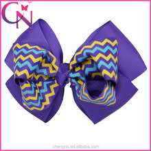 5 inch Double Layers Chevron China Gaga Hair Bow with Alligator Clip